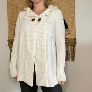 Takeout White Hooded Knit Sweater - Size XL